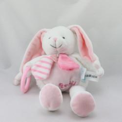 Doudou lapin blanc rose rayé hochet BABY NAT