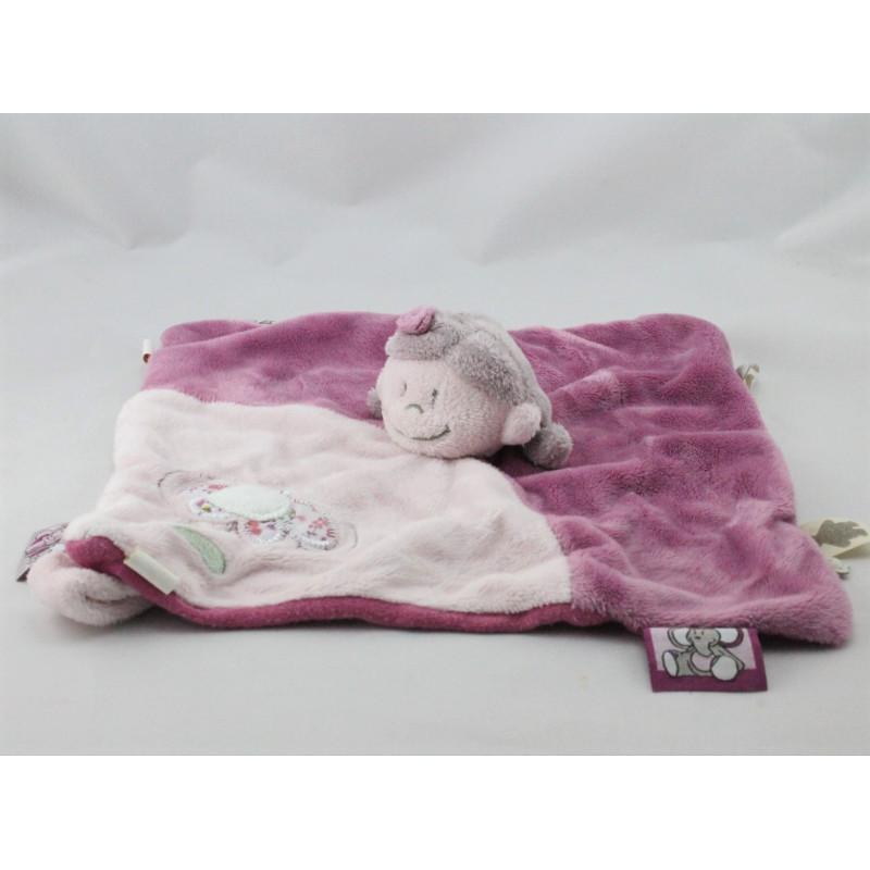 Doudou plat poupée fille rose prune robe fleurs Nina Kenza NOUKIE'SE'S