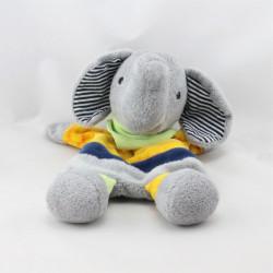 Doudou plat éléphant gris jaune vert STERNTALER