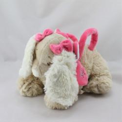 Doudou sac chien beige Scuba noeuds rose NOUKIE'S