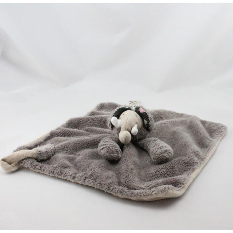 Doudou plat éléphant Les Zazous beige gris noir MOULIN ROTY
