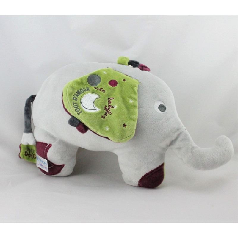 Doudou éléphant gris vert bordeaux SAUTHON
