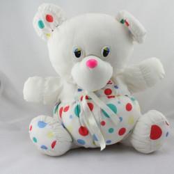 Doudou puffalump ours tissu blanc pois rouge vert jaune bleu AUCHAN