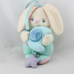 Doudou veilleuse musical lapin vert bleu FISHER PRICE 2001