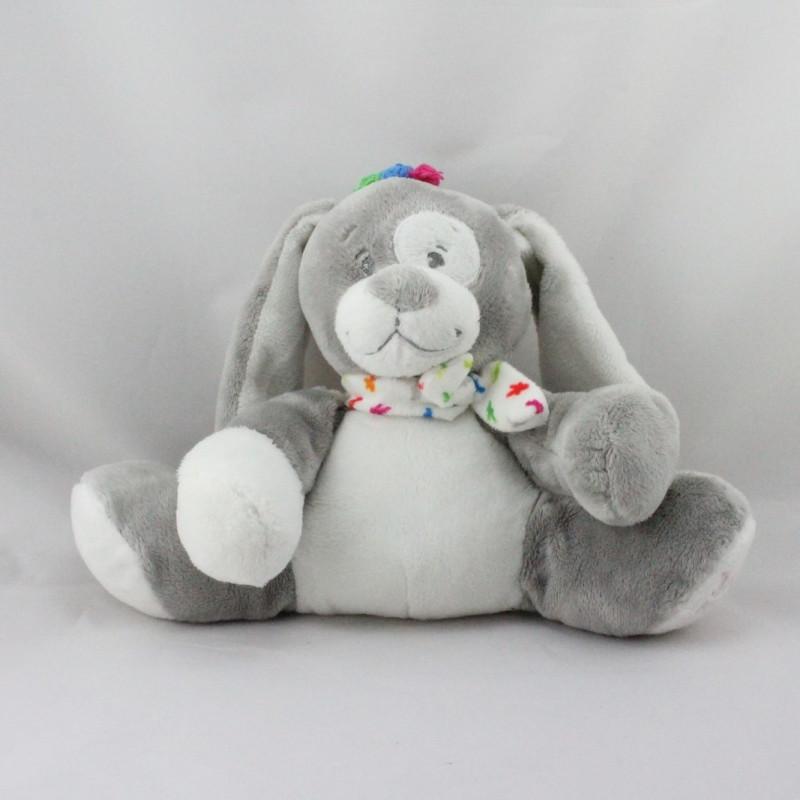 Doudou lapin chien gris blanc NOUKIE'S