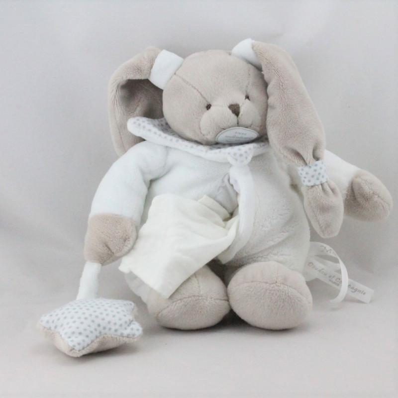 Doudou et compagnie lapin blanc beige mouchoir étoiles Céleste