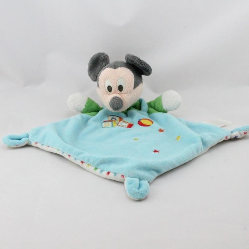 Doudou plat Mickey bleu vert cubes étoiles DISNEY