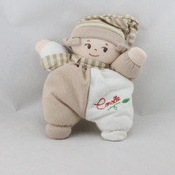 Doudou poupée chiffon beige blanc coeur COROLLE