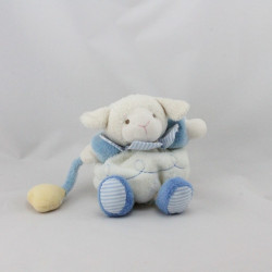 Doudou et compagnie mouton Gaston blanc bleu