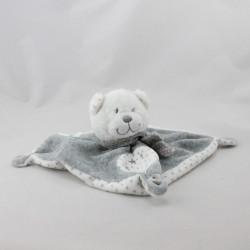 Doudou plat ours blanc gris étoiles TEX BABY