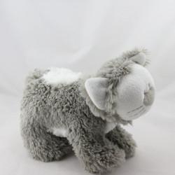 Doudou peluche chat gris blanc LA GALLERIA