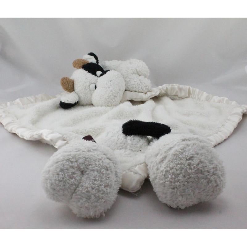 Grand Doudou plat couverture vache blanche noir LA GALLERIA