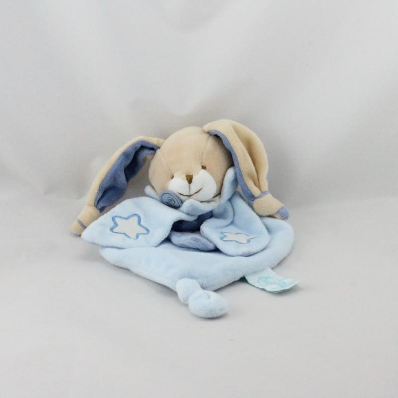 Doudou plat luminescent lapin bleu étoile BABY NAT