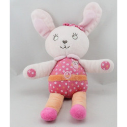 Doudou lapin rose orange pois TEX BABY