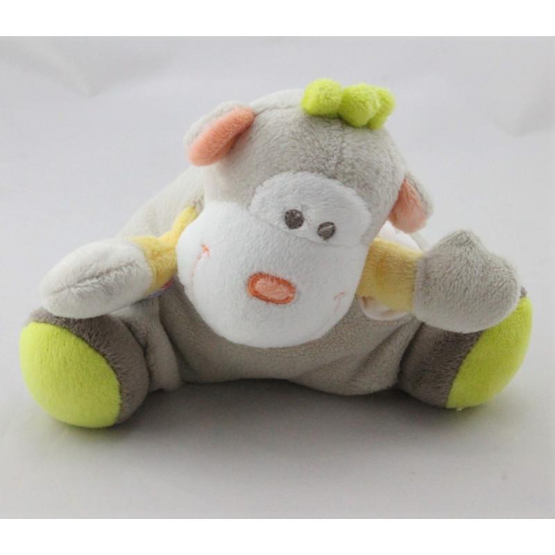 Doudou singe gris beige vert orange mouchoir SUCRE D'ORGE