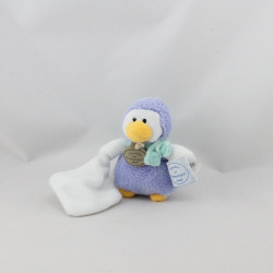 Doudou pingouin manchot mauve mouchoir BABY NAT