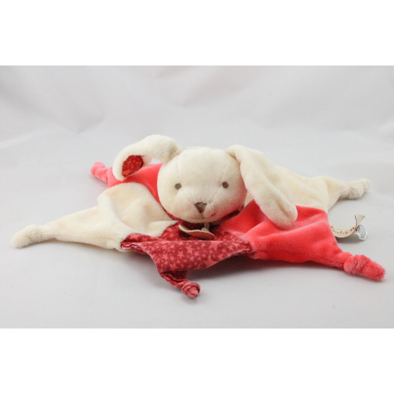 Doudou plat étoile lapin blanc rose rouge BABY NAT