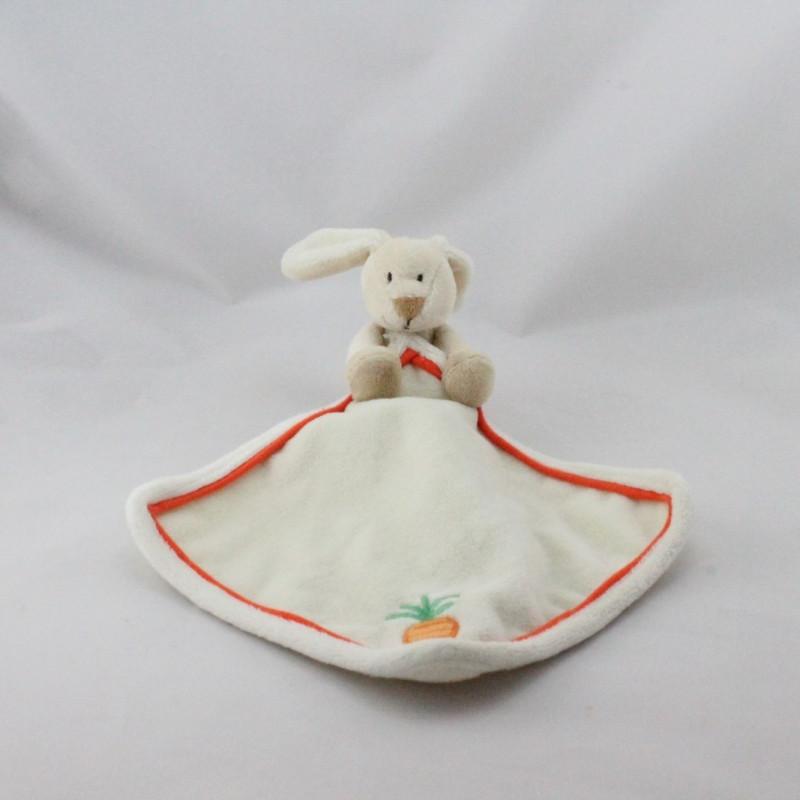 Doudou plat lapin blanc beige orange carotte mouchoir TOODO