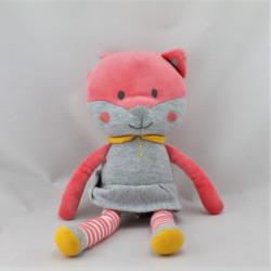 Doudou chat rose gris jaune rayé OBAIBI