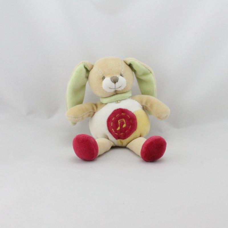 Doudou et compagnie lapin blanc rouge vert jaune lot de 4