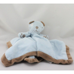 Doudou plat ours bleu marron satin EARLY DAYS