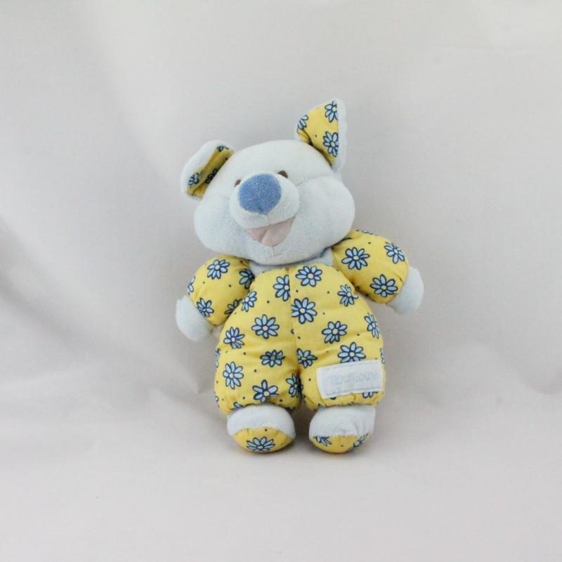 Doudou cochon bleu jaune fleurs NOUNOURS