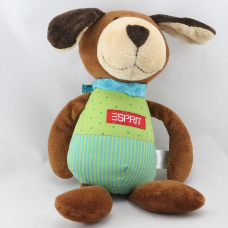 Doudou musical chien marron vert bleu ESPRIT