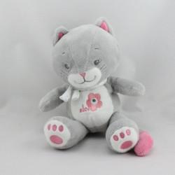 Doudou chat gris rose Arthur et Lola BEBISOL