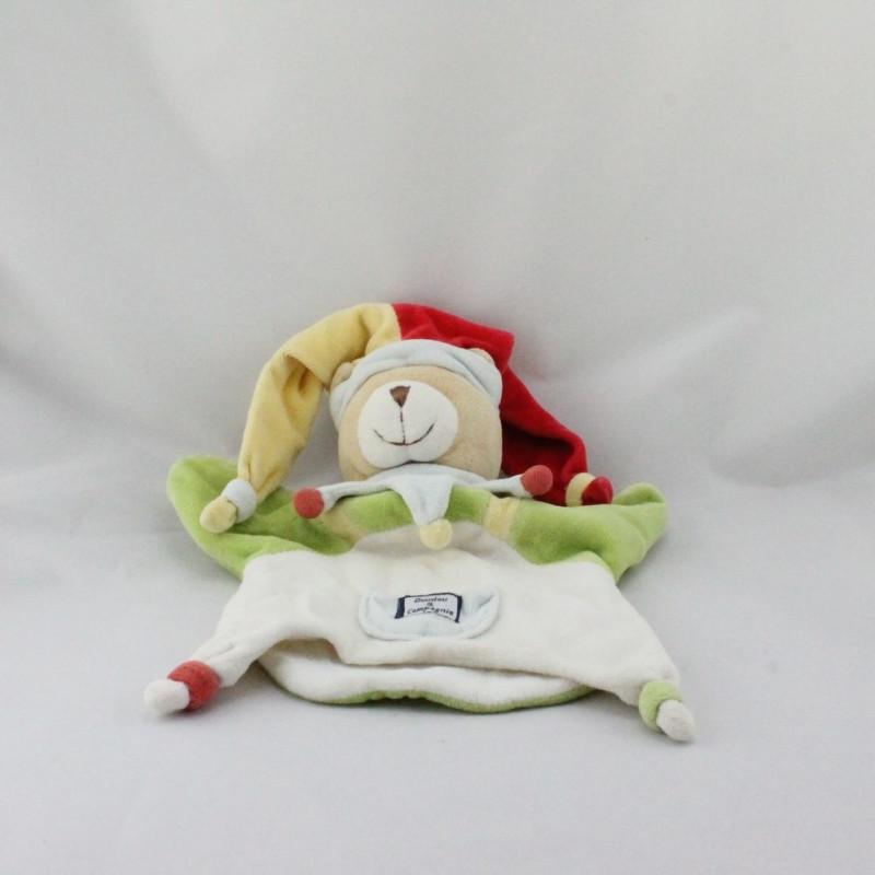 Doudou plat marionnette ours arlequin DOUDOU ET COMPAGNIE