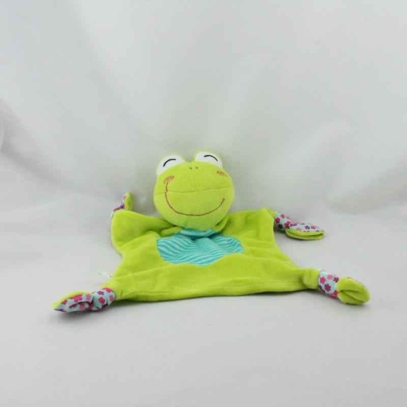 Doudou plat grenouille verte P'TIT BISOU AUBERT