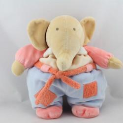 Doudou éléphant beige rose bleu NOUNOURS