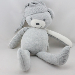 Doudou musical ours gris blanc vert rayé ZEN KALOO
