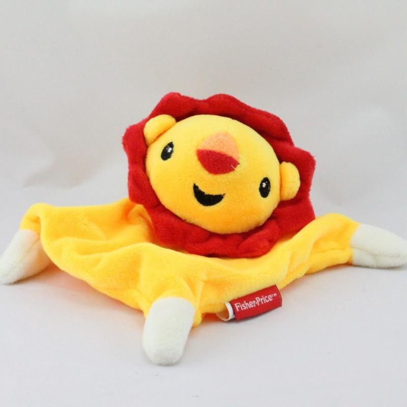Doudou plat  lion jaune rouge FISHER PRICE
