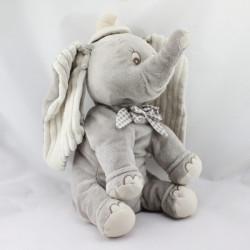 Grand Doudou peluche éléphant gris Dumbo noeud vichy beige DISNEY NICOTOY