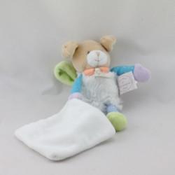 Doudou et compagnie chien blanc bleu vert mouchoir attache tétine