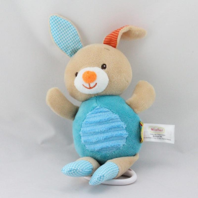 Doudou musical lapin beige bleu vichy MINIMI