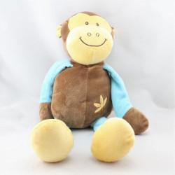 Doudou singe bleu jaune orange marron DOUKIDOU