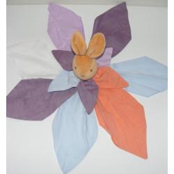 Doudou plat lapin fleur pétale Calice TAKINOU