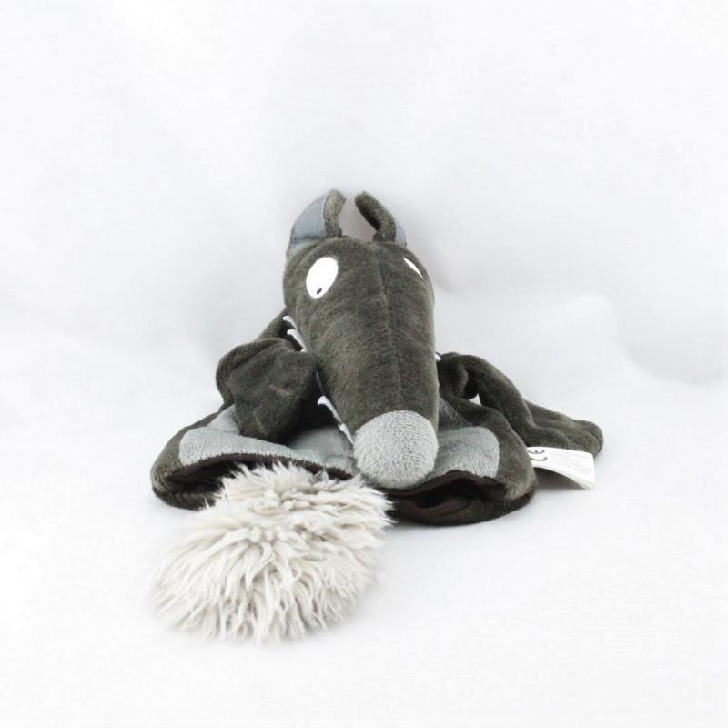 Doudou marionnette loup marron gris AUZOU