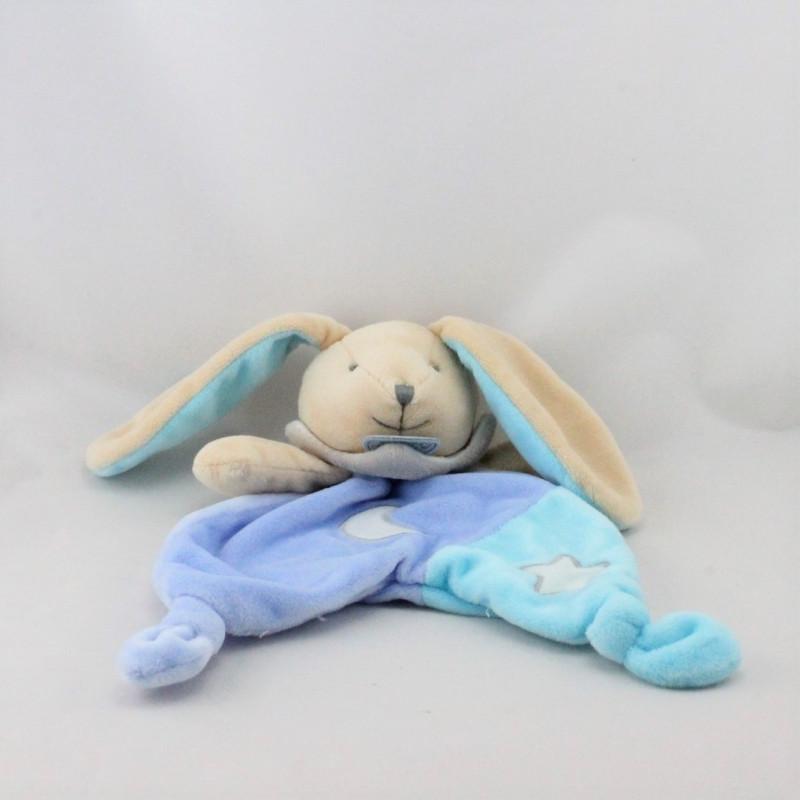 Doudou plat luminescent lapin bleu étoile lune BABY NAT