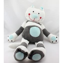 Grand Doudou chat blanc noir bleu DPAM