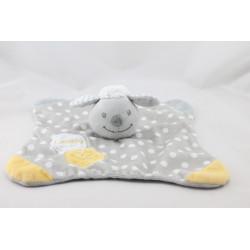 Doudou plat agneau mouton gris jaune pois Lovely DOUKIDOU