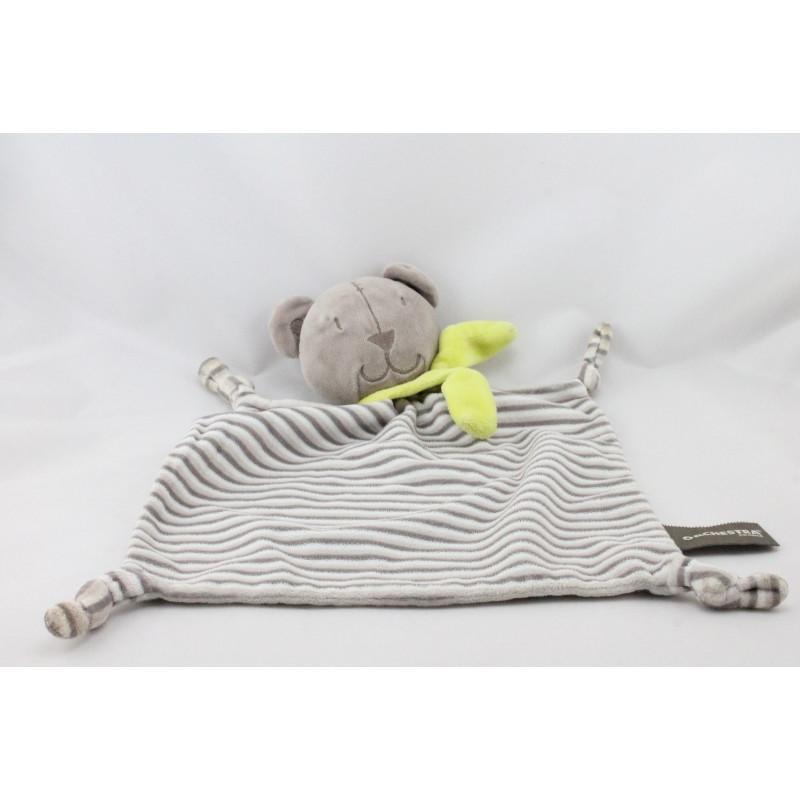 Doudou plat ours beige gris rayé écharpe verte ORCHESTRA