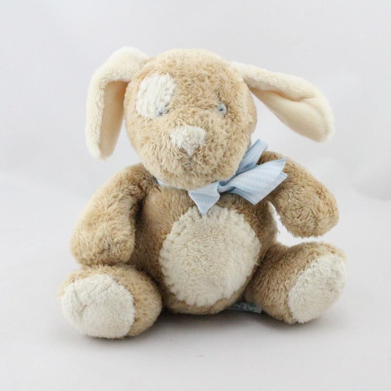 Doudou chien beige écru noeud bleu Mocha RUSS BERRIE