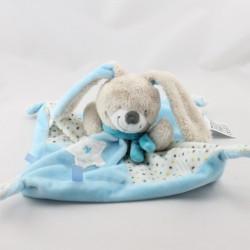 Doudou plat lapin bleu blanc étoiles MOTS D'ENFANTS
