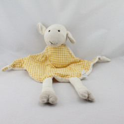 Doudou plat mouton blanc beige vichy orange
