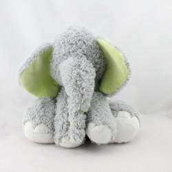 Doudou éléphant gris blanc vert HAPPY HORSE