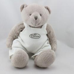 Doudou ours beige salopette blanche BIZOU