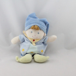 Doudou musical poupée garçon arlequin bleu NICOTOY