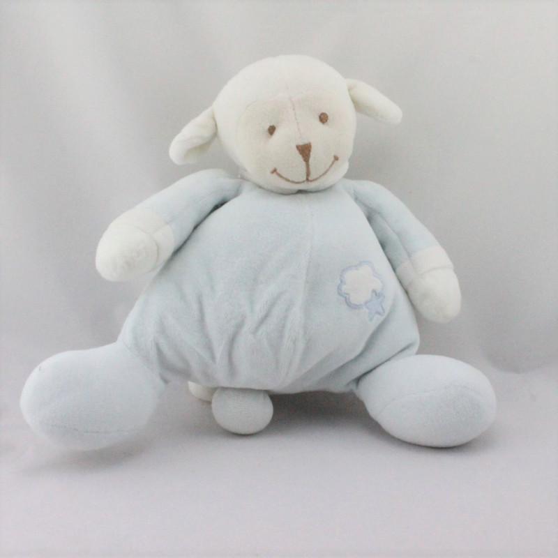 Doudou musical mouton bleu blanc BOUTCHOU BOUT'CHOU